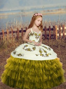 Fantastic Ball Gowns Pageant Dress for Teens Olive Green Straps Organza Sleeveless Floor Length Lace Up