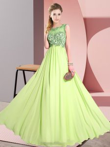 Traditional Sleeveless Chiffon Floor Length Backless Vestidos de Damas in Yellow Green with Beading and Appliques