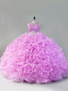Most Popular Floor Length Zipper Quince Ball Gowns Lilac for Sweet 16 and Quinceanera with Beading and Ruffles