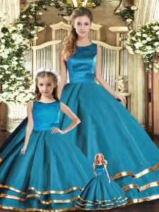 Teal Tulle Lace Up Sweet 16 Dresses Sleeveless Floor Length Ruffled Layers