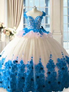 Sexy Blue And White Tulle Zipper Scoop Sleeveless Vestidos de Quinceanera Brush Train Hand Made Flower