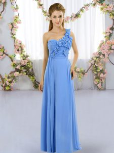 Decent Floor Length Mermaid Sleeveless Blue Quinceanera Dama Dress Lace Up