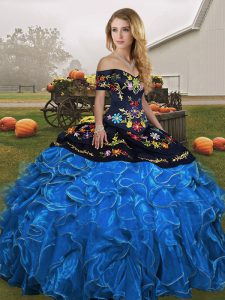 Sexy Off The Shoulder Sleeveless Lace Up 15 Quinceanera Dress Blue And Black Organza