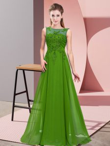 Glamorous Green Zipper Quinceanera Dama Dress Beading and Appliques Sleeveless Floor Length