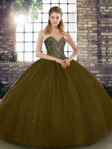 Perfect Tulle Sleeveless Floor Length Quinceanera Dress and Beading