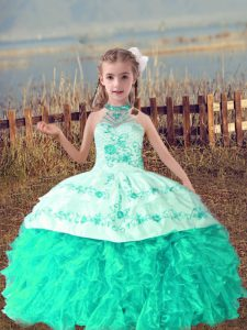 Elegant Turquoise Lace Up Halter Top Beading and Embroidery and Ruffles Little Girls Pageant Dress Organza Sleeveless