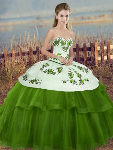 Green Sleeveless Floor Length Embroidery and Bowknot Lace Up 15th Birthday Dress