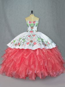 Watermelon Red 15 Quinceanera Dress Sweetheart Sleeveless Lace Up