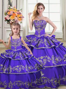 Beautiful Embroidery and Ruffled Layers Sweet 16 Dress Purple Lace Up Sleeveless Floor Length