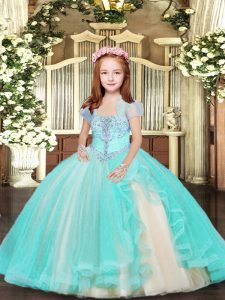 Excellent Sleeveless Lace Up Floor Length Beading Kids Pageant Dress