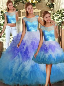 Scoop Sleeveless Tulle Quinceanera Dresses Lace and Ruffles Backless