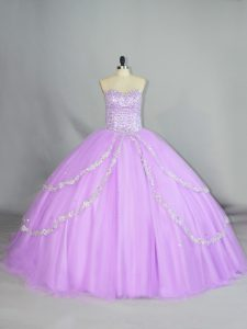 Ball Gowns Sleeveless Lavender Sweet 16 Dresses Lace Up