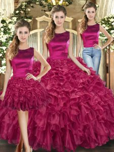 Perfect Sleeveless Floor Length Ruffles Lace Up Quinceanera Dress with Fuchsia