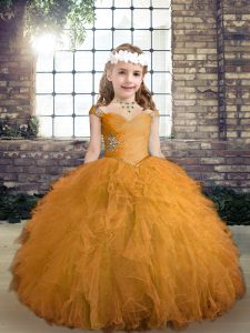High Class Gold Straps Lace Up Beading and Ruffles Little Girl Pageant Gowns Sleeveless