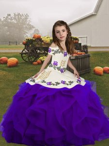 Floor Length Ball Gowns Sleeveless Purple Little Girls Pageant Dress Wholesale Lace Up