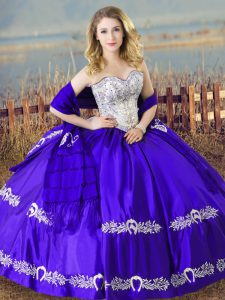 Beauteous Sleeveless Satin Floor Length Lace Up Quinceanera Dresses in Blue with Beading and Embroidery