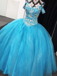 Decent Ball Gowns Ball Gown Prom Dress Baby Blue Straps Tulle Sleeveless Floor Length Lace Up