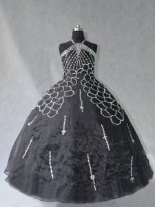 Flirting Black Ball Gowns Halter Top Sleeveless Organza Floor Length Lace Up Beading Ball Gown Prom Dress