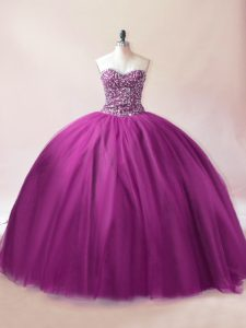 Best Selling Purple Lace Up 15 Quinceanera Dress Beading Sleeveless Floor Length