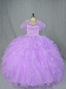 Colorful Sleeveless Organza Asymmetrical Side Zipper Quinceanera Dresses in Lavender with Beading and Ruffles