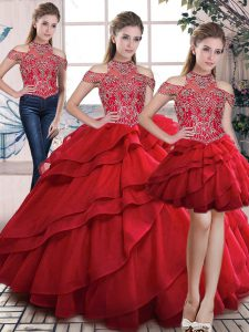 Red Three Pieces Organza High-neck Sleeveless Beading and Ruffles Floor Length Lace Up Ball Gown Prom Dress