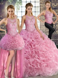 Fabric With Rolling Flowers Scoop Sleeveless Lace Up Beading Quinceanera Dress in Rose Pink