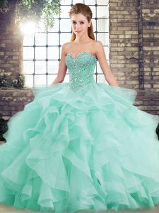 Sleeveless Tulle Brush Train Lace Up Sweet 16 Quinceanera Dress in Apple Green with Beading and Ruffles