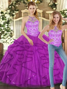 Halter Top Sleeveless Lace Up Sweet 16 Dresses Purple Tulle