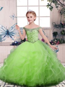 Lovely Sleeveless Beading and Ruffles Floor Length Pageant Gowns