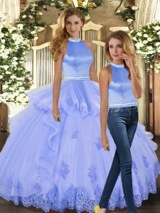 Traditional Lavender Two Pieces Halter Top Sleeveless Tulle Floor Length Backless Beading and Appliques Quince Ball Gowns