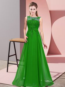 Green Chiffon Zipper Scoop Sleeveless Floor Length Quinceanera Court Dresses Beading and Appliques