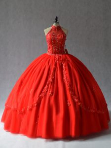 Discount Red Ball Gowns Tulle Halter Top Sleeveless Appliques Floor Length Lace Up Quinceanera Dress