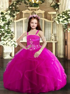 Fuchsia Lace Up Little Girl Pageant Dress Beading and Ruffles Sleeveless Floor Length