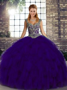 Simple Sleeveless Lace Up Floor Length Beading and Ruffles Sweet 16 Dress