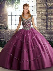 Fuchsia Tulle Lace Up Straps Sleeveless Floor Length Quinceanera Dress Beading and Appliques