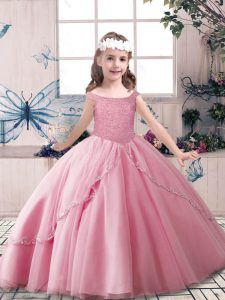 Cheap Rose Pink Lace Up Girls Pageant Dresses Beading Sleeveless Floor Length
