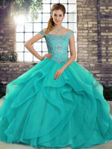 Captivating Aqua Blue Ball Gowns Tulle Off The Shoulder Sleeveless Beading and Ruffles Lace Up Sweet 16 Dress Brush Train