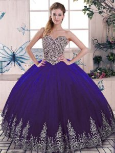 Modest Sleeveless Tulle Floor Length Lace Up Quinceanera Gowns in Purple with Beading and Embroidery