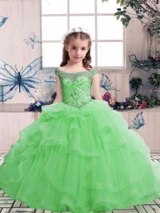 Glorious Scoop Sleeveless Tulle Child Pageant Dress Beading Lace Up