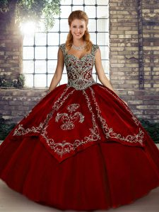 Fantastic Wine Red Ball Gowns Tulle Straps Sleeveless Beading and Embroidery Floor Length Lace Up Quinceanera Gowns