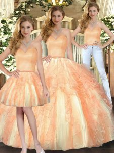 Orange Organza Lace Up Sweetheart Sleeveless Floor Length 15th Birthday Dress Beading and Ruffles