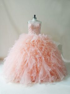Peach Scoop Lace Up Beading and Ruffles 15 Quinceanera Dress Sleeveless