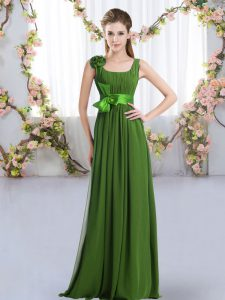 Delicate Straps Sleeveless Zipper Quinceanera Court of Honor Dress Green Chiffon