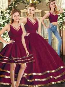 Chic Three Pieces Sweet 16 Dress Burgundy V-neck Tulle Sleeveless Floor Length Backless
