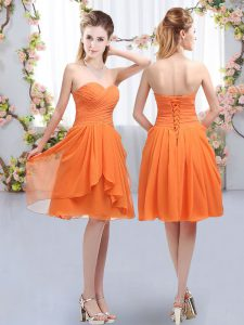 Elegant Sleeveless Ruffles and Ruching Lace Up Dama Dress