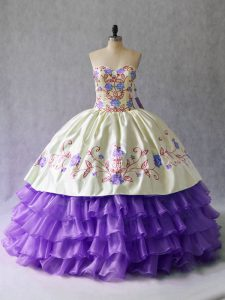 Latest Lavender Ball Gowns Embroidery and Ruffled Layers Quince Ball Gowns Lace Up Organza Sleeveless Floor Length