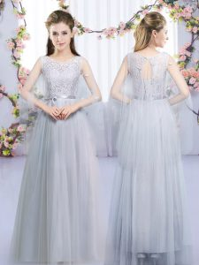 Fantastic Grey Empire Tulle Scoop Sleeveless Lace and Belt Floor Length Lace Up Court Dresses for Sweet 16