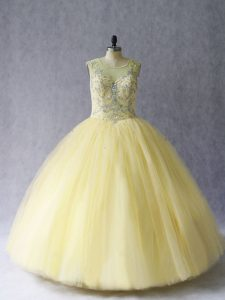 Delicate Light Yellow Ball Gowns Beading Quinceanera Dresses Lace Up Tulle Sleeveless Floor Length