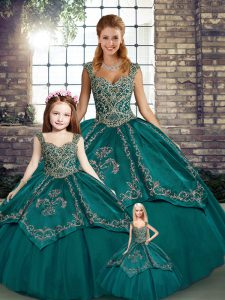 Adorable Tulle Straps Sleeveless Lace Up Beading and Embroidery Sweet 16 Dresses in Teal