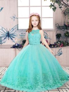 Scoop Sleeveless Little Girls Pageant Dress Wholesale Floor Length Lace and Appliques Aqua Blue Tulle